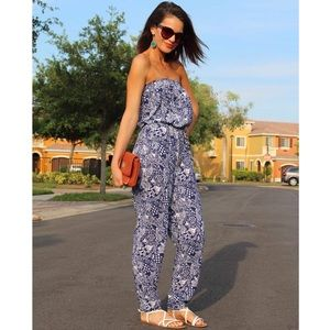 Lily Pulitzer Navy Blue Strapless Jumpsuit